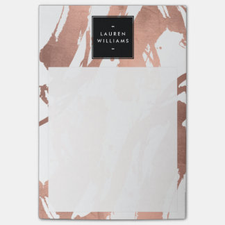 Abstract Rose Gold Brushstrokes on White Post-it Notes