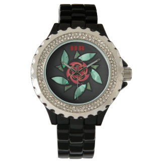 Abstract Rose - Red on Black (Monogrammed) Watches