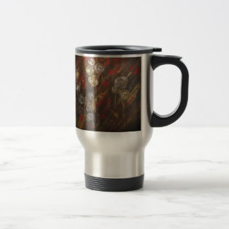 Abstract roses blow in the breeze travel mug