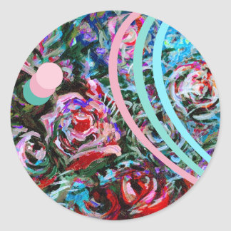 Abstract roses in pink and turquoise - stickers