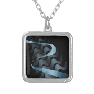 Abstract satin. silver plated necklace