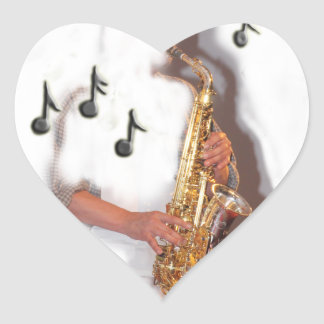 Abstract Saxophone player, music and instrument Heart Sticker