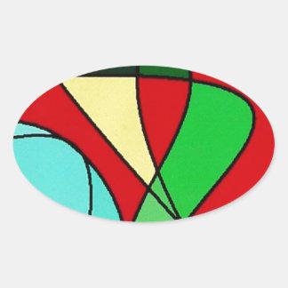 Abstract Sea Bird Sun Art Oval Sticker