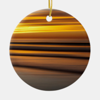 Abstract seascape at sunset, CA Round Ceramic Ornament
