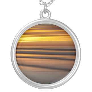 Abstract seascape at sunset, CA Silver Plated Necklace