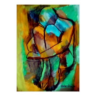 Abstract Seated Figure Painting - Fine Art Prints Poster