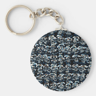 Abstract Series of Skulls Basic Round Button Keychain