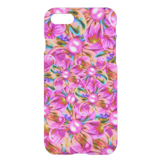 Abstract sewn pink flowers iPhone 8/7 case