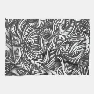 Abstract Shaded Zen Doodle Swirly Lines In Pencil Kitchen Towels