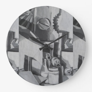 Abstract Shades in Grey Designer Large Clock