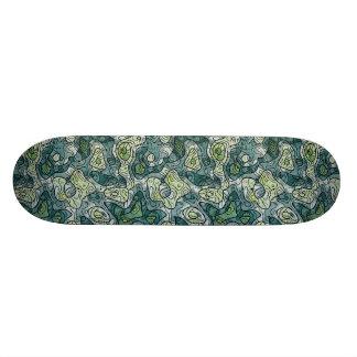 Abstract Shades of Green Skate Board