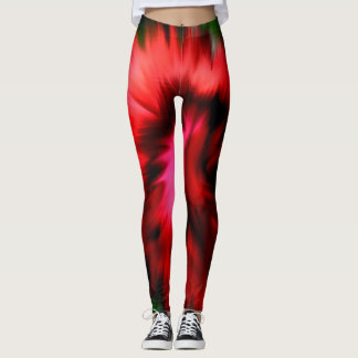 Abstract Shades Of Red And Pink Leggings