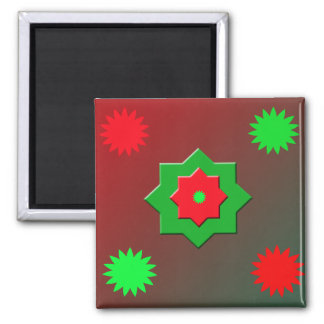Abstract Shapes in Red and Green Magnet