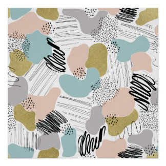 Abstract Shapes Pastel Pattern Poster