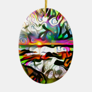 Abstract shore ceramic oval ornament