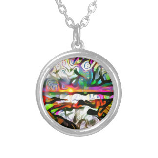 Abstract shore silver plated necklace