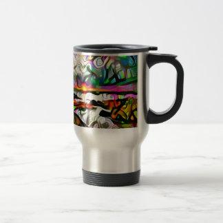 Abstract shore travel mug