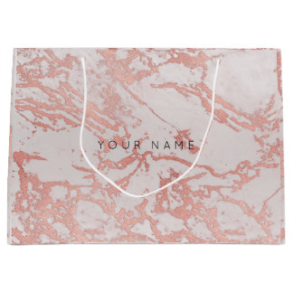 Abstract Silver Blush Marble Metallic Copper Rose Large Gift Bag
