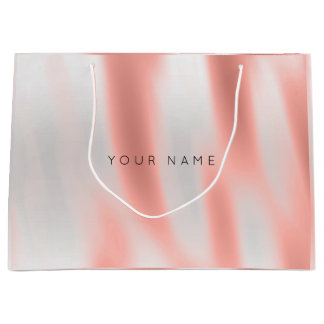 Abstract Silver Blush Marble Metallic Peach Rose Large Gift Bag