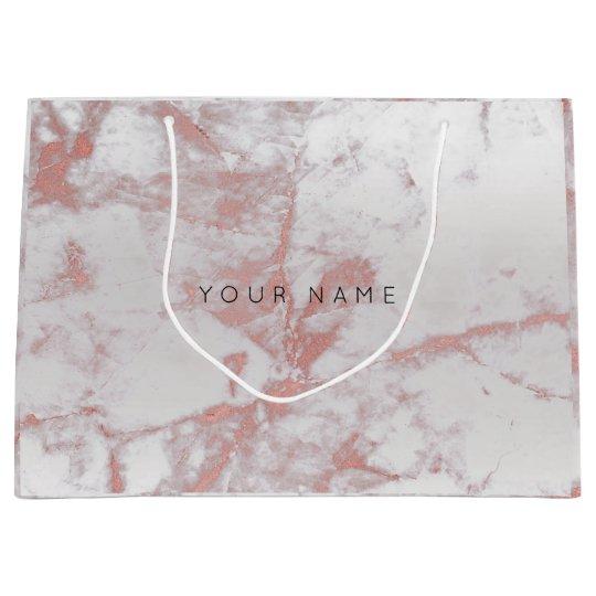 Abstract Silver Blush Marble Metallic Pink Rose Large Gift Bag