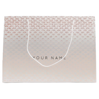 Abstract Silver Blush Metallic Crystals Rose Large Gift Bag