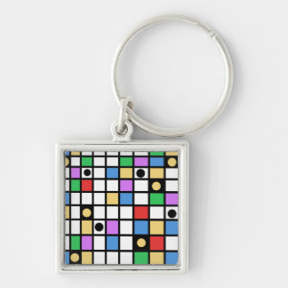 abstract Silver-Colored square keychain