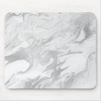 Abstract Silver Gray Carrara White Marble Mouse Pad