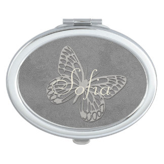 Abstract Silver Grey Butterfly Add Name Mirror