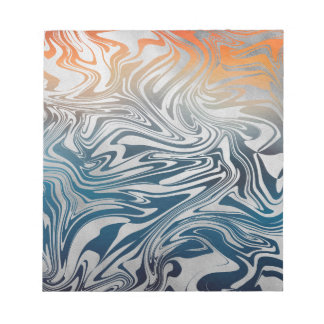 Abstract silver liquid pattern notepad