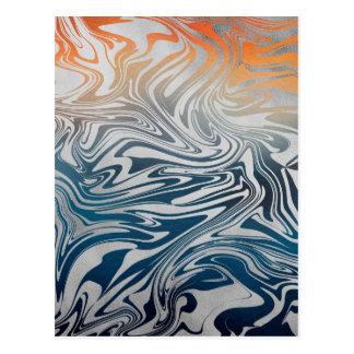 Abstract silver liquid pattern postcard