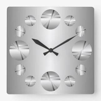 Abstract Silver Metallic Print Wall Clock