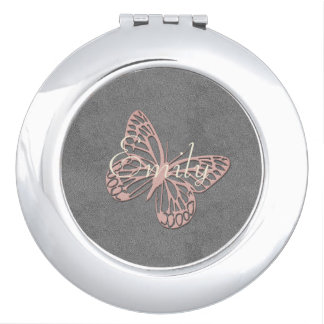 Abstract Silver Pink  Butterfly Add Name Mirror Mirrors For Makeup
