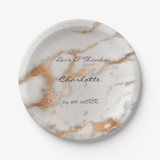 Abstract Silver  Rose Gold Minimal Custom Bridal Paper Plate