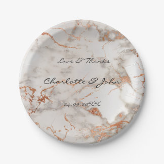 Abstract Silver  Rose Gold Minimal Custom Wedding Paper Plate
