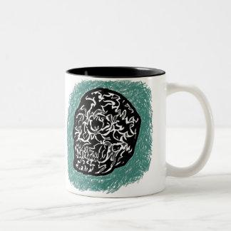 'Abstract Skull on Blue' Two-Tone Coffee Mug