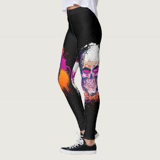 Abstract Skull Paint Splatter Leggings