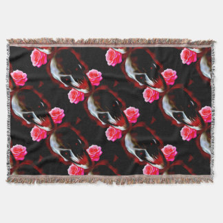 Abstract skull with roses throw blanket