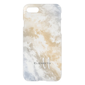 Abstract sky at sunrise gold blue monogrammed iPhone 8/7 case