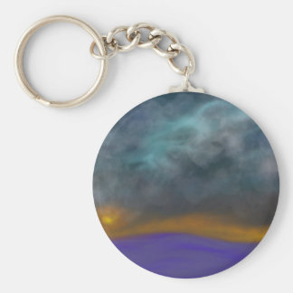 Abstract sky basic round button keychain