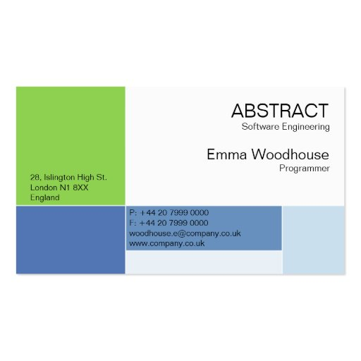 Abstract Sky Blue & Green Business Card Templates