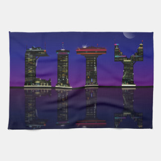 Abstract skyline. kitchen towel