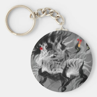 Abstract Small Dog Basic Round Button Keychain