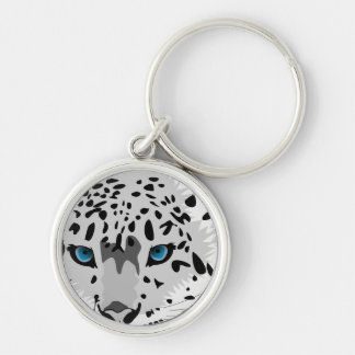 abstract snow leopard keychain