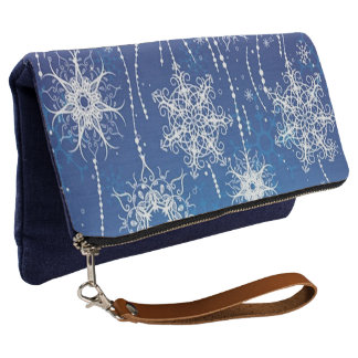Abstract Snowflakes Clutch