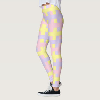 Abstract Soft Pink, Yellow and Purple Leggings