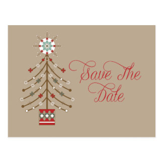 Abstract Southwestern Christmas Tree Save The Date Postcard