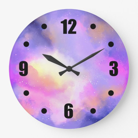 Abstract Space Design in Purple Pink and Yellow Large Clock