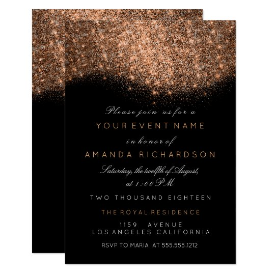 Abstract Sparkly Glitter Copper Rose Gold Black Card