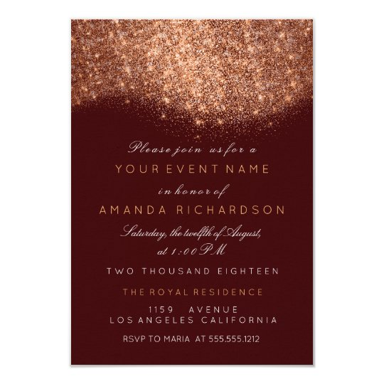 Abstract Sparkly Glitter Copper Rose Gold Burgundy Card