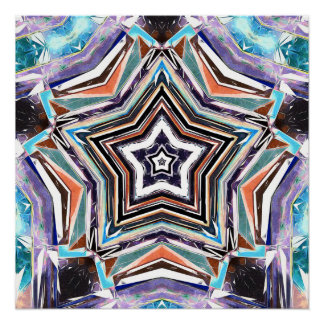 Abstract Spectral Star Poster